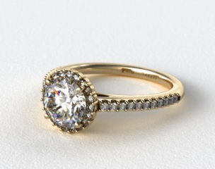 18K Yellow Gold Petite Diamond Halo Engagement Ring