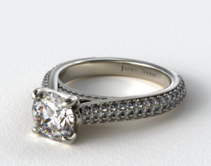 14K White Gold Pave Tapered Cathedral Engagement Ring