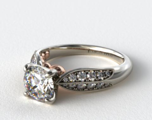 Pave and Rose Gold Diamond Engagement Ring