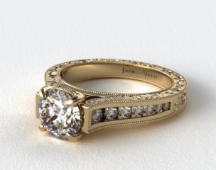 18K Yellow Gold Hand Engraved Channel Set Round Diamond Engagement Ring