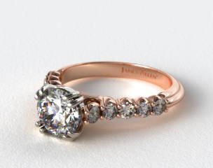 14K Rose Gold Prong Set Cathedral Diamond Engagement Ring