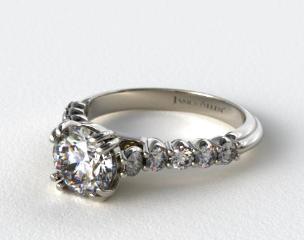 18K White Gold Prong Set Cathedral Diamond Engagement Ring