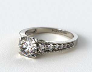 18K White Gold ReverseTaper Milgrain Diamond Engagement Ring