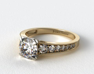 14K Yellow Gold ReverseTaper Milgrain Diamond Engagement Ring