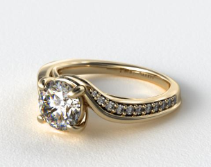 Pave Bypass Diamond Engagement Ring