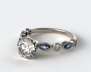 Platinum Vintage Round Diamond and Marquise  Sapphire Engagement Ring