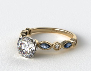 18K Yellow Gold Vintage Round Diamond and Marquise  Sapphire Engagement Ring