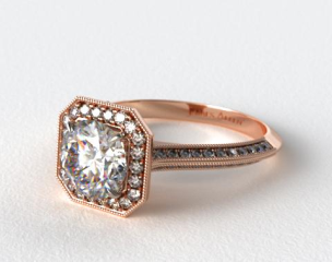 14K Rose Gold Octagon Halo Diamond Engagement Ring