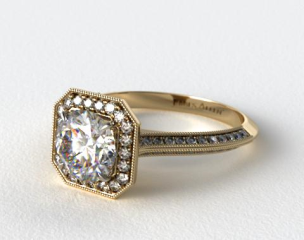14K Yellow Gold Octagon Halo Diamond Engagement Ring