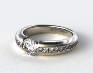Platinum Bar-Set Pave Set Diamond Engagement Ring