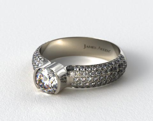 Platinum Half-Bezel Pave Set Diamond Engagement Ring