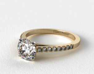 14K Yellow Gold Petite Pave Cathderal Engagement Ring