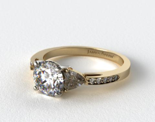 18k Yellow Gold Three Stone Trillion and Pave Set Diamond Engagement Ring
