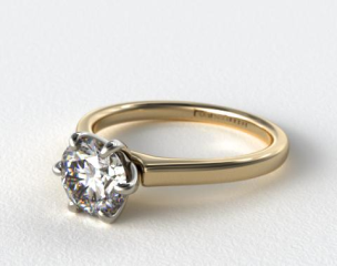 14K Yellow Gold Tapered Six Prong Diamond Engagement RIng