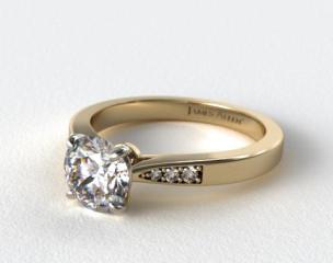 18K Yellow Gold Petite Diamond Accent Engagement Ring