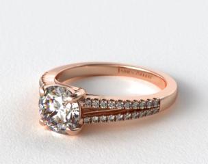 14K Rose Gold Cross Over Trellis Pave Diamond Split Shank Engagement Ring