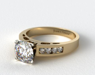 14K Yellow Gold 0.34ct Channel Set Diamond Engagement Ring