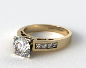 18K Yellow Gold 0.42ct Channel Set Diamond Engagement Ring