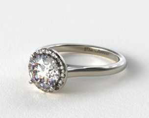 18K White Gold Pave Halo Engagement Ring (Round Center)