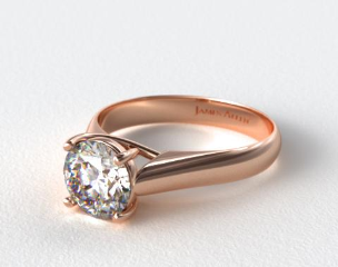 14K Rose Gold Thin Cross Prong Diamond Engagement Ring