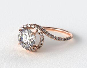 14K Rose Gold Pave Set Swirl AE100 by Danhov Designer Engagement Ring