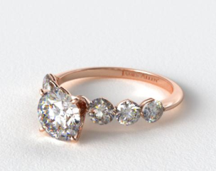 14K Rose Gold Scalloped Shared Prong Engagement Ring