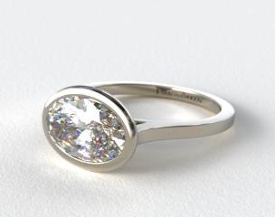 18k White Gold Bezel Solitaire Engagement Ring (Oval Center)