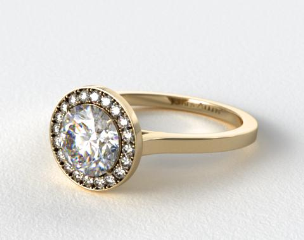 18k Yellow Gold Pave Halo Engagement Ring (Round Center)