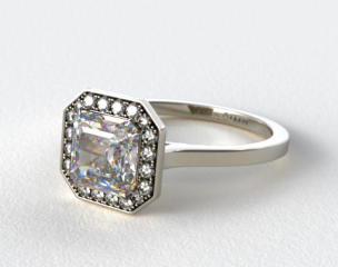 14k White Gold Pave Halo Engagement Ring (Asscher Center)