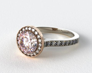 18k Rose Gold Pave Halo and White Gold Shoulders Engagement Ring (Round Center)