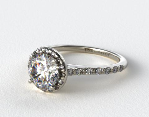 14K White Gold Pave Halo and Shank Diamond Engagement Ring (Round Center)