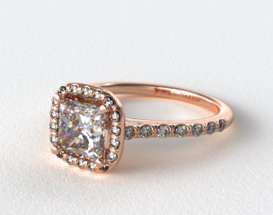 14K Rose Gold Pave Halo and Shank Diamond Engagement Ring (Cushion Center)
