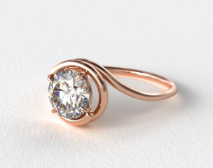 14K Rose Gold Solitaire Swirl AE133 by Danhov Designer Engagement Ring