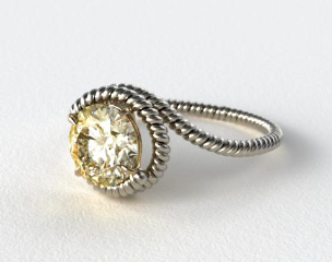 18k White Gold Solitaire Wrapped AE135 with Yellow Gold Basket by Danhov Designer Engagement Ring