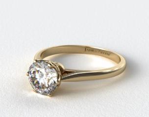 18k Yellow Gold Six Prong Royal Crown Engagement Ring