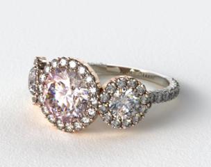 18K White Gold Three Stone Pave Halo XE106 by Danhov Designer Engagement Ring (Rose Gold Basket)