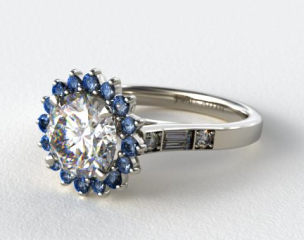 14K White Gold Blue Sapphire Sunburst and Baguette Engagement Ring