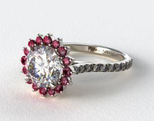 18K White Gold Ruby Pave Sunburst Engagement Ring