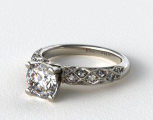 18k White Gold Pave Encrusted Engagement Ring