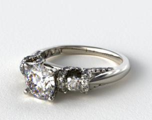 14k White Gold Round and Pave Ribbon Engagement Ring