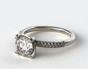 18k White Gold Rounded Pave Engagement Solitaire