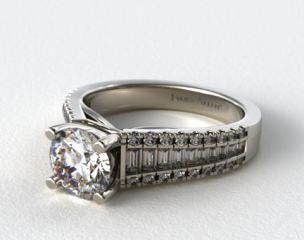 Platinum Graduated Baguette and Pave Engagement Ring