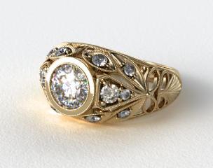 14K Yellow Gold Twirled Fleur de lis Diamond Engagement Ring