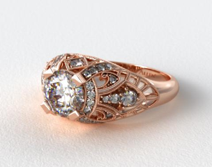14K Rose Gold Fleur de lis Diamond Engagement Ring