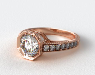 14K Rose Gold Zinnia Inspired Geometric Engagement Ring