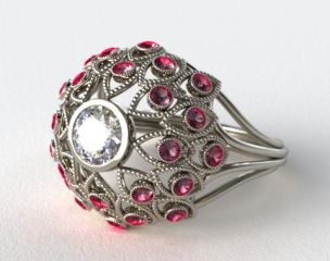 18k White Gold Ruby Firework Engagement Ring
