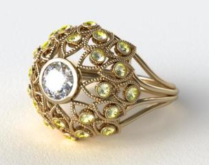 14k Yellow Gold Yellow Sapphire Firework Engagement Ring