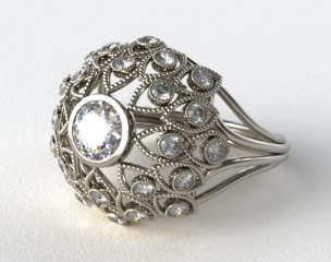 14K White Gold Brilliant Diamond Firework Engagement Ring