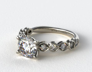 18K White Gold Alernating Pattern Engagment Ring