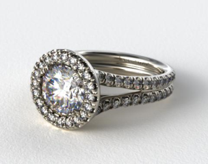 18K White Gold Pave Halo Engagment Ring with Two Diamond Encrusted Bands